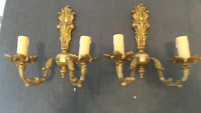 Vintage Pair Wall Chandelier French Bronze Foliage Wall Lights Wall Sconces
