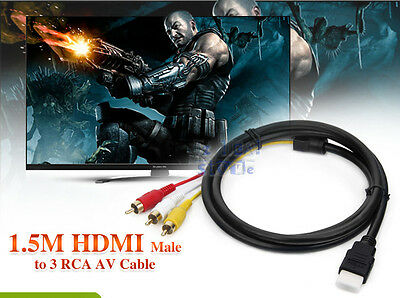 HDMI Male To 3 RCA RGB Male Video Audio AV Adapter Cable For HDTV Player HD TV