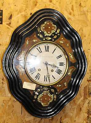 1900's French Vintage Mother of Pearl Carved Wall Clock - 8 x day  .