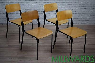 Vintage Industrial School Stacking Stackable Cafe Bar Chairs 200 AVAILABLE