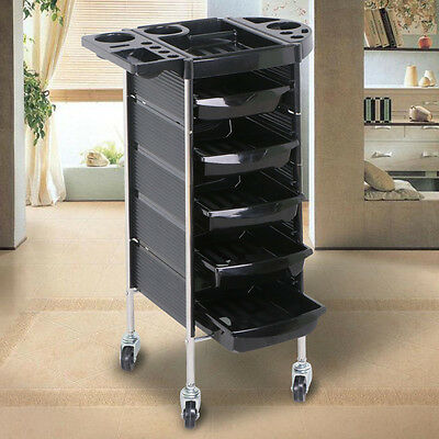 AU 6 Tiers Hairdresser Hair Salon Trolley Rolling Spa Cart Storage Drawer Black