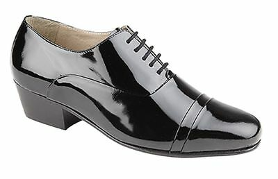 Mens Gents Montecatini Leather Cuban Heel Patent Dance Formal Wear Shoes Lace Up