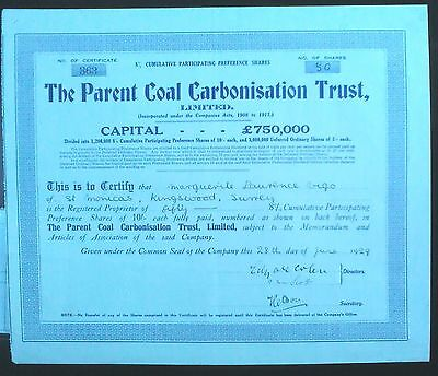 Share certificate Parent Coal Carbonisation 1929