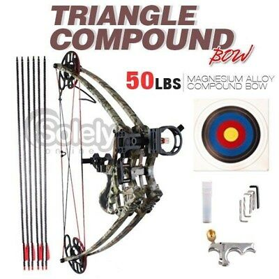 New 50lbs Left & Right Handed Magnesium Alloy Triangle Compound Bow Archery Camo