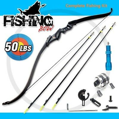 50lbs RevoArcher Fishing Bow Archery Fish Hunting Bowfishing 3 Arrows & Reel Kit