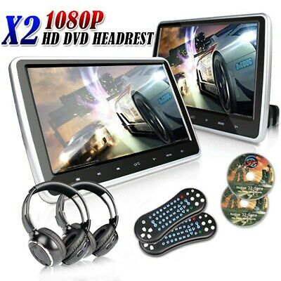 "2 X 10"" Touch Button Car Video Headrest Active Monitor DVD Player Game Headsets"