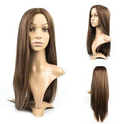 Stylish 72cm Long Light Brown Straight Heat Resistant Lady Hair Full Wig Party