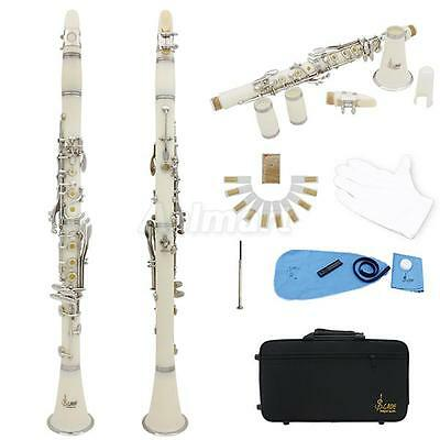LADE New Nickel Plate 17 Key Bb Clarinet White + Care Kit+ 10 Reeds+ Case