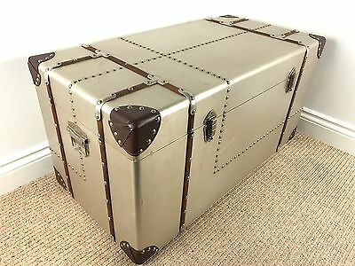 Extra Large Vintage / Industrial Style Metal & Wood Chest *TRUNK COFFEE TABLE*
