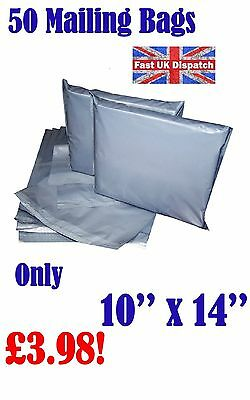 50 Mailing Bags 10 x 14 Strong Grey Plastic Poly Postal Postage Auct 8-14