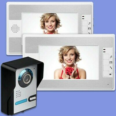 "2 Monitor 7"" Color TFT Display Wired Video Door Phone Doorbell Camera Security"