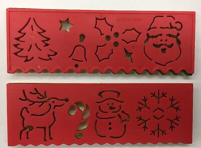 2x Christmas Stencils  Templates 153x51mm 4colours Send Random Oz Stock