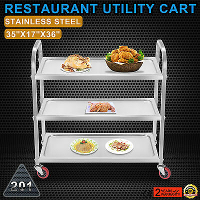 Kitchen Stainless Steel Serving Cart Catering Utility Dolly 3 Shelf FANTASTIC