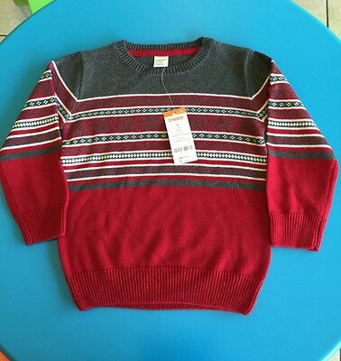 NWT Gymboree Toddler boys Crewneck sweater Color:red /gray SZ:3T $34.95