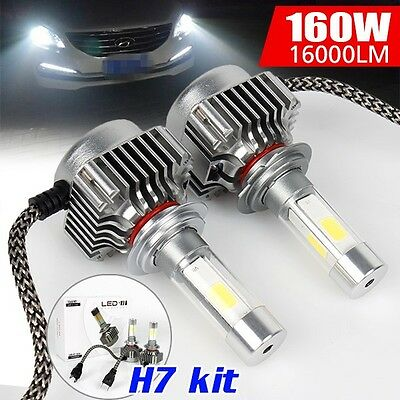 2016 Cree 160W 16000Lm Led H7 Car Headlight High Low Beam Replace Halogen Xenon