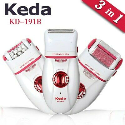 3 in 1 RECHARGEABLE Lady Epilator, Shaver, Callus Remover Hair Removal Trimmer