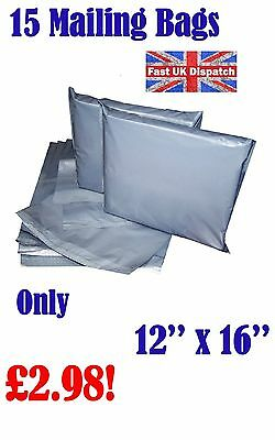 15 Mailing Bags 12 x 16 Strong Grey Plastic Poly Postal Postage Auct 2-12