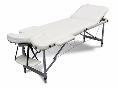 Massage Table Beauty Couch Bed Portable Folding 3 Section Aluminium Frame Beige