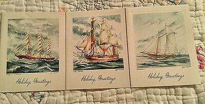 Nautical Epemera vintage holiday used greeting cards ships Art by Jean Kuphal