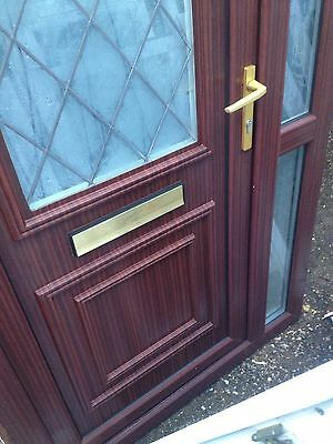1 X White/Brown UPVC Front Door Glazed Panel With Letterbox