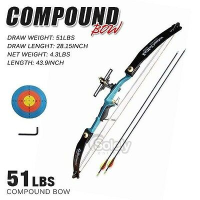 51 LBS NEW Adult Compound Bow Archery Shooting Aluminium Handle 2 Arrows Hunting