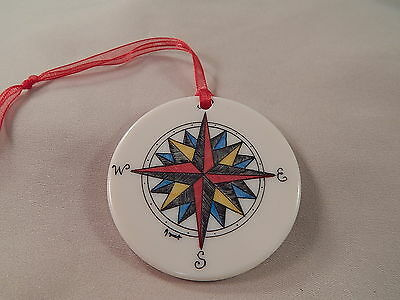 Scrimshaw Resin Christmas Ornament  - Colored Compass Rose with Red Ribbon