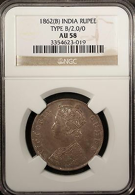 India Rupee 1862 B NGC AU 58 Silver Queen Victoria Type B/2.0/0