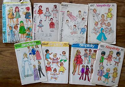 8 Vintage Doll Clothes Patterns Simplicity McCall's 1960's  9097 5163 3728 7971