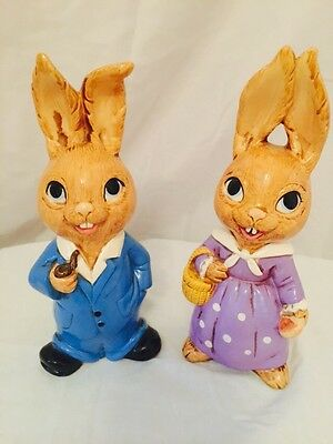 Vintage Mr And Mrs Rabbit Adorable Easter Decor Bunnies