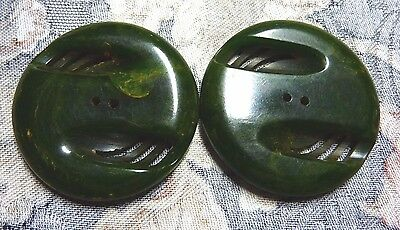 "Vintage Matched Pair Green BAKELITE Large Size Buttons - 1 and 5/8"" Diameter"
