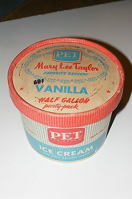 Vintage Old Pet Dairy Diet Vanilla Ice Cream Container 1/2 Gal Mary Lee Taylor