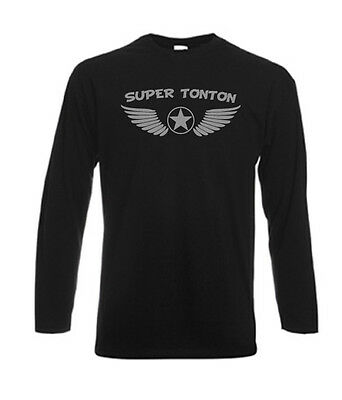 Tshirt noir homme manches longues Fruit Of The Loom SUPER TONTON AILES