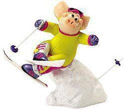 Piggin / Pig Collectors Figurine - On The Piste # 14185 Skiing Pig