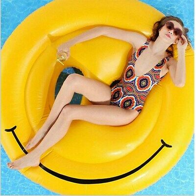 Gigantic Inflatable Smiley Pool Water Float Swimming Tube Round Adult Sunbathing