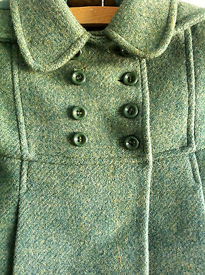 Child's Green Vintage Wool Coat Immaculate Condition Age 2