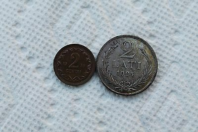 Latvia Silver Coin, 2 Lati 1925 and Lithuania 2 Centai Bronze Coin 1936 in great
