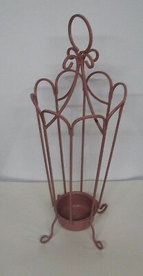 Antique~Wrought Iron Umbrella Stand~Round Handle~Metal Cup Insert base