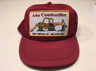1980s Arby Construction Hat With Backhoe Patch New Berlin, Wi