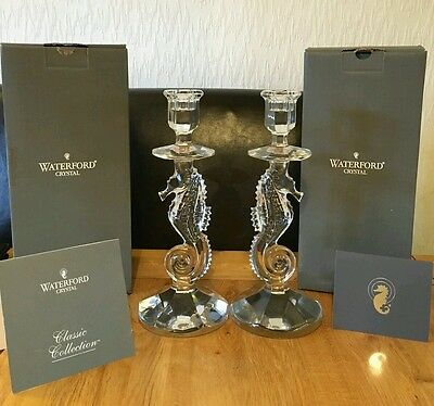Pair of Waterford Crystal Seahorse Candlesticks 127994