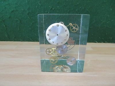 Vintage Cube  Shaped Perspex ** Watch Parts** Paperweight In Ex Cond