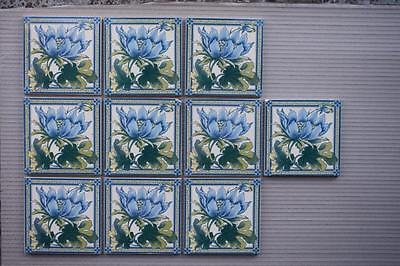 Set Of 10 Antique Victorian Style Fireplace Tiles