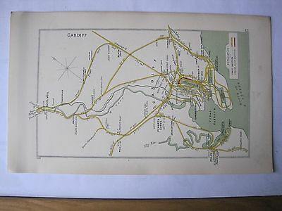 1928 RAILWAY CLEARING HOUSE Junction Diagram No.12 CARDIFF