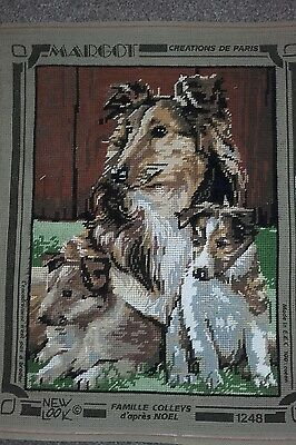 """Lovely """"Margot """"Part completed wool tapestry  Collie and Pups """"size 12 x 15 ins"""
