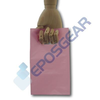 50 Extra Small Pink Punch Out Handle Gift Fashion Party Plastic Carrier Bags