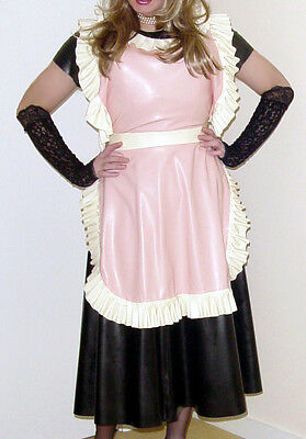 Latex rubber apron - medium weight - in pink and cream - Sealwear