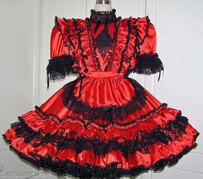 Adult sissy gothic maids dress in red and black satin - Barbara Tamm.
