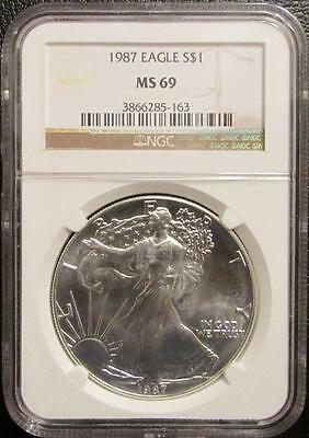 1987 American Silver Eagle Dollar NGC MS69 Lot 34