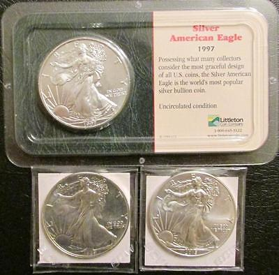 1989, 1997, and 2015 American Eagle Silver Dollars Lot 19