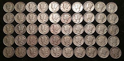 50 Coin Roll: 1930's Silver United States Mercury Dimes 90% Silver Mixed Lot