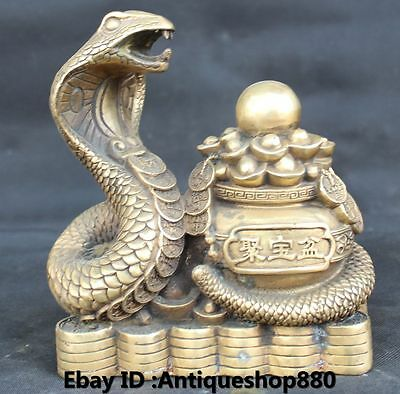 """8"""" Chinese Fengshui Bronze Wealth Money YuanBao Bead Snake Snakes serpent Statue"""